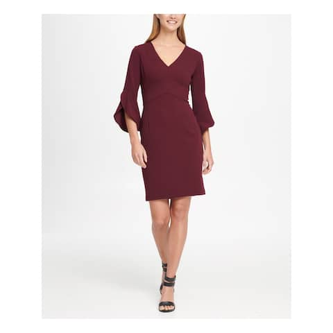 DKNY Burgundy Bell Sleeve Above The Knee Dress 8