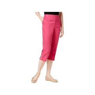 Alfred Dunner Womens Petites Capri Pants Cut Out Pull On Pink 6P