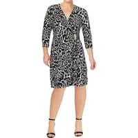 Calvin Klein Womens Plus Wear to Work Dress Animal Print Wrap