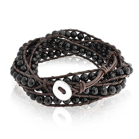 Black Onyx Ball Bead Genuine Brown Leather Strand Triple Wrap Bracelet