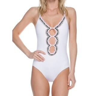 Becca White Womens Size Small S One-Piece Crochet Cutout Swimwear
