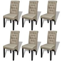 vidaXL 6 Scroll Back Linen Coated Wood Dining Chairs Beige