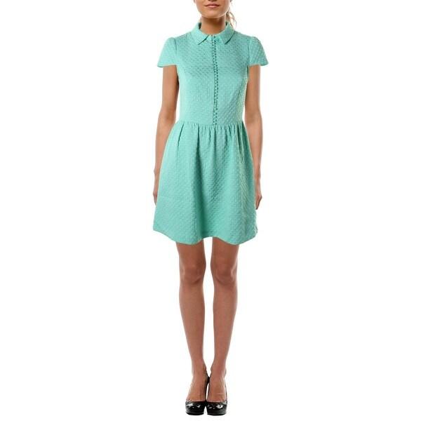 Kensie Womens Casual Dress Jacquard Polka Dot