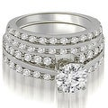 2.60 cttw. 14K White Gold Two Row Round Cut Diamond Bridal Set - Thumbnail 0