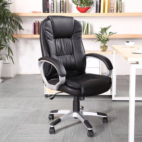 Belleze Ergonomic Office PU Leather Chair Executive Computer Hydraulic, Black