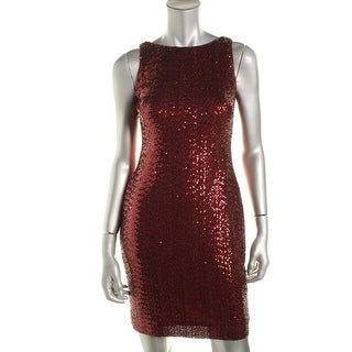 Lauren Ralph Lauren Womens Petites Adalynn Sequined Sleeveless Cocktail Dress