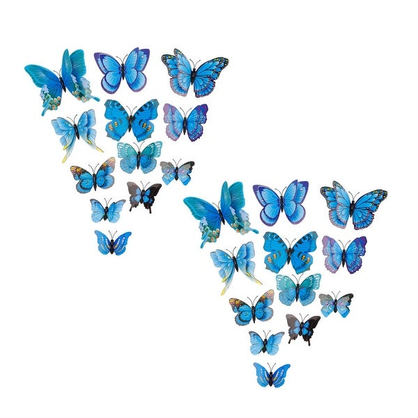 24pcs 3D Butterfly Wall Stickers Decal Sticker for Room Decoration Blue