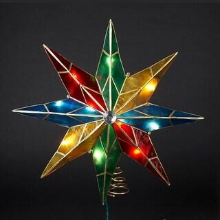 "15"" Lighted Capiz Poinsettia Star Christmas Tree Topper - Clear Lights"