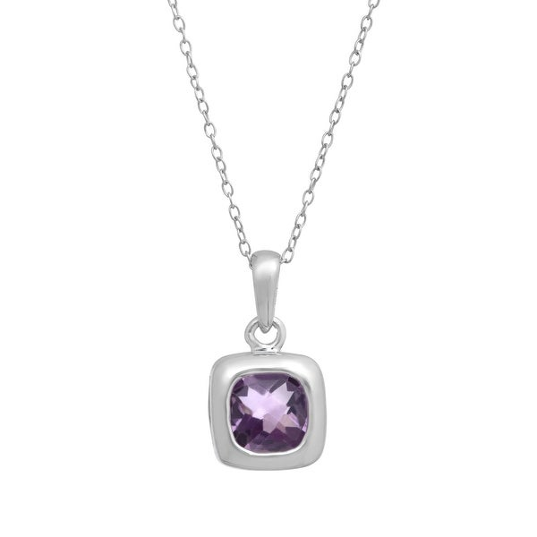 1 ct Natural Amethyst Pendant in Sterling Silver - Purple