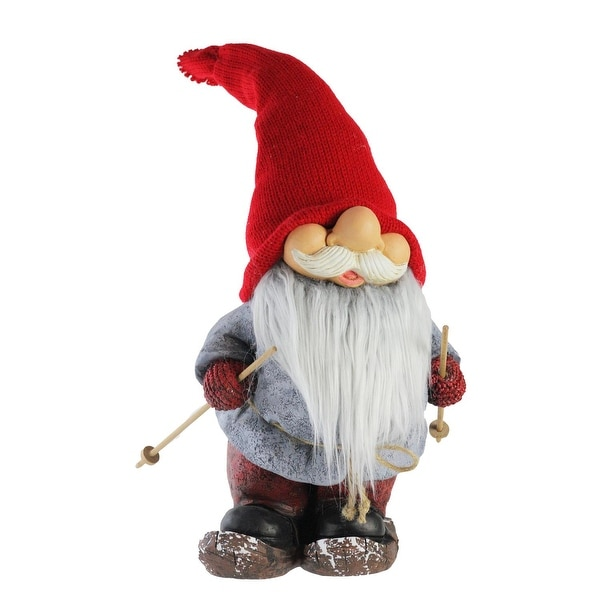 """22"""" Skiing Smiling Christmas Santa Gnome with Flexible Red Knitted Hat"""