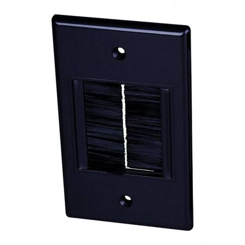 Monster JHIU0069 Just Hook It Up Econo Brush Cable Feed-Thru Wallplate, Plastic. Black