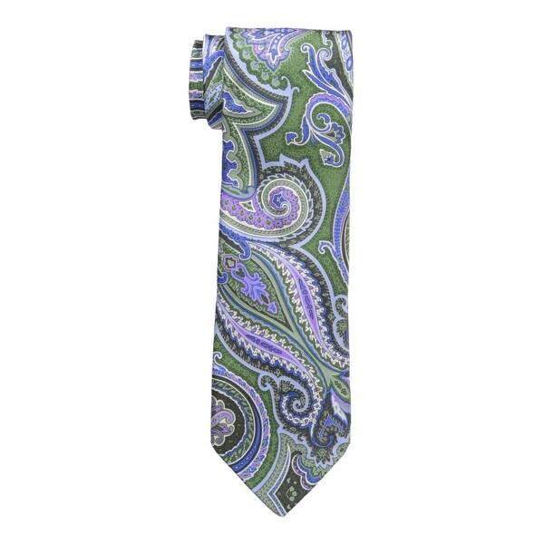 b45469ab9345 Shop Geoffrey Beene NEW Green Blue Mens One Size Paisley Silk Neck Tie -  Free Shipping On Orders Over $45 - Overstock - 19504589