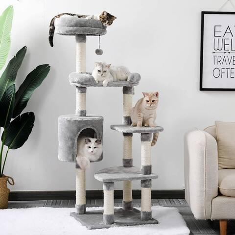 Large Cat Tree Multi-level Sisal Tower - Grey