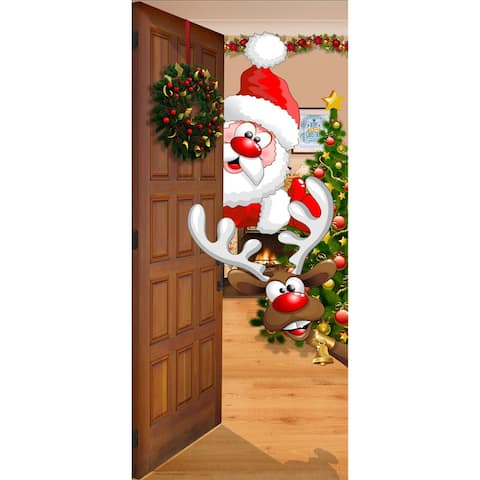 """80"""" x 36"""" Red and Brown Santa and Rudolph Christmas Front Door Banner Mural Sign Decoration"""