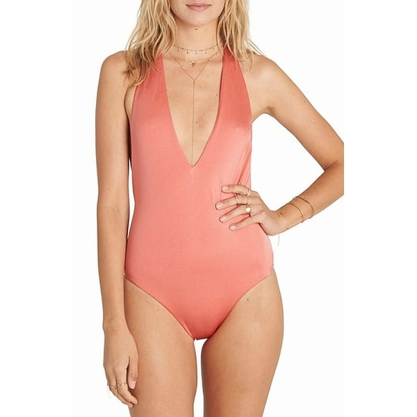 9533ae601ca7e Shop Billabong Pink Women Size Small S One-Piece V-Neck Strappy Swimwear -  On Sale - Free Shipping On Orders Over  45 - Overstock - 26898464