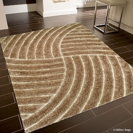 Allstar Brown / Beige Shaggy Area Rug with 3D Design with Lines. Contemporary Formal Hand Tufted (5' x 7')