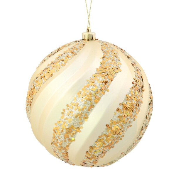"Champagne Glitter Swirl Shatterproof Christmas Ball Ornament 6"" (150mm) - GOLD"