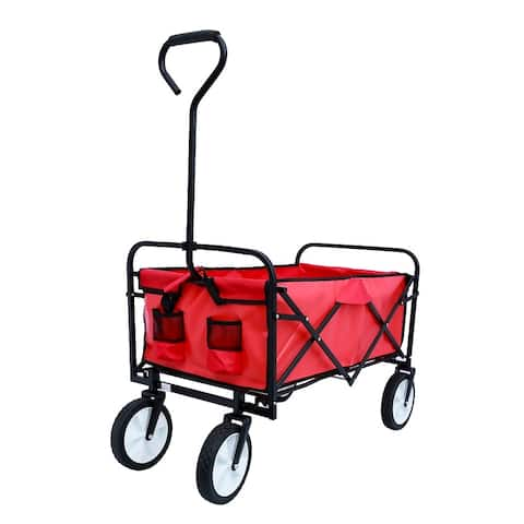 Folding Wagon Garden Shopping Beach Cart (Red)