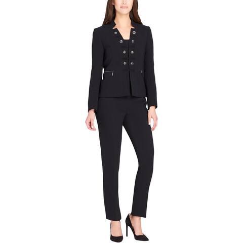 Tahari ASL Womens Petites Four-Button Suit Embellished 2PC - 6P