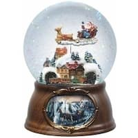 "7"" Clear and Brown Santa Claus Musical Rotating Christmas Snow Globe - multi"