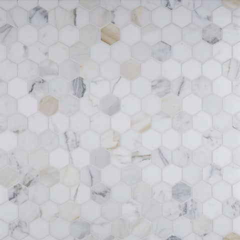 "MSI CALAGOLD-2HEX Calacatta Gold - 2"" x 2"" Hexagon Mosaic Wall Tile - Polished - White"