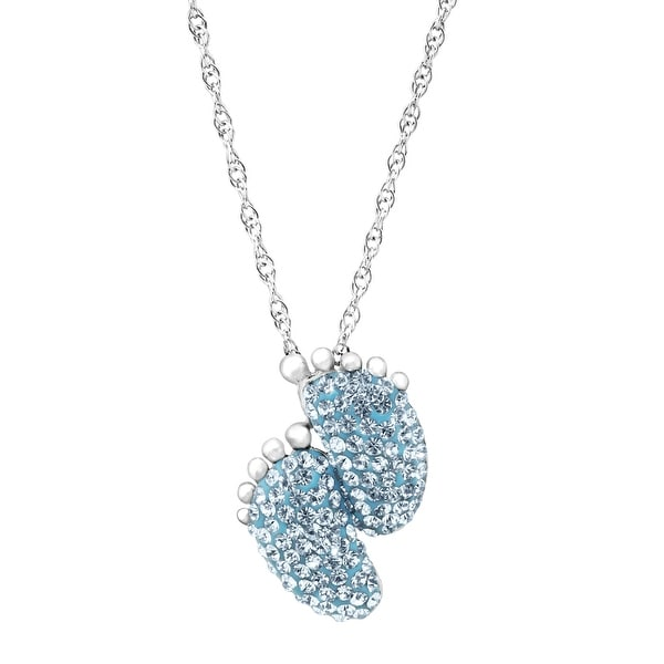 Crystaluxe Footprint Pendant with Blue Swarovski Crystals in Sterling Silver
