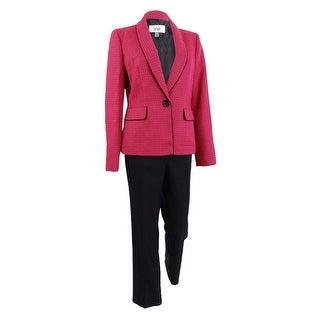 Le Suit Women's Textured Colorblocked Pantsuit - azalea/black