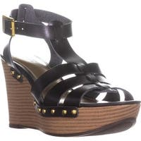 AL35 Abaline Studded Wedge Strappy Sandals, Black - 9 us / 40 eu