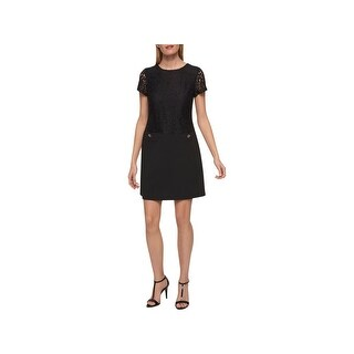 Tommy Hilfiger Womens Scuba Dress Lace Overlay Short Sleeves