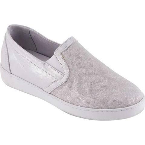 David Tate Women's Valentina Slip On Sneaker Silver Calfskin