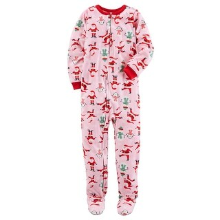 Carter's Baby Girls' 1 Piece Christmas Fleece Pajamas, 24 Months - pink santa