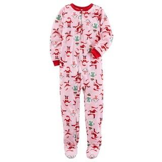 Carter's Little Girls' 1 Piece Christmas Fleece Pajamas, 4-Toddler