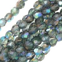 Czech Fire Polished Glass Beads 4mm Round Two Tone Crystal/Blue AB Luster (50)