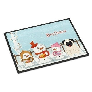 Carolines Treasures BB2335MAT Merry Christmas Carolers Pug Cream Indoor or Outdoor Mat 18 x 0.25 x 27 in.