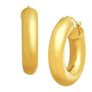 Just Gold Polished Tube Hoop Earrings in 14K Gold - YELLOW