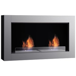 Gymax 38 Inch Wall Mounted Bio-Ethanol Fireplace Ventless Dual Burner Fireplace