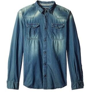 Buffalo David Bitton NEW Blue Mens Size Large L Button Up Denim Shirt