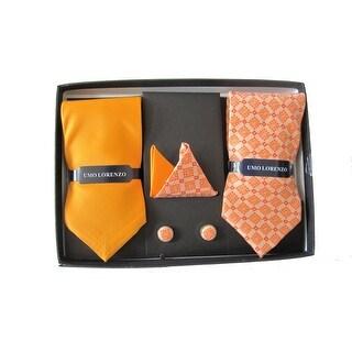 Men's 2 Woven Tie with Matching Hanky & Cufflink Set