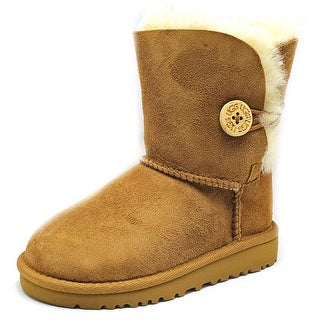 Ugg Australia Bailey Button Toddler Round Toe Suede Brown Winter Boot (Option: 10)