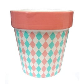 "4"" Capri Boulevard Earthenware Pastel Pink & Green Diamond Motif Outdoor Garden Patio Mini Planter"
