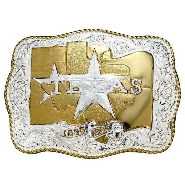 Crumrine Western Belt Buckle Texas Flag Star Rope Silver Gold - 3 1/4 x 4 1/2