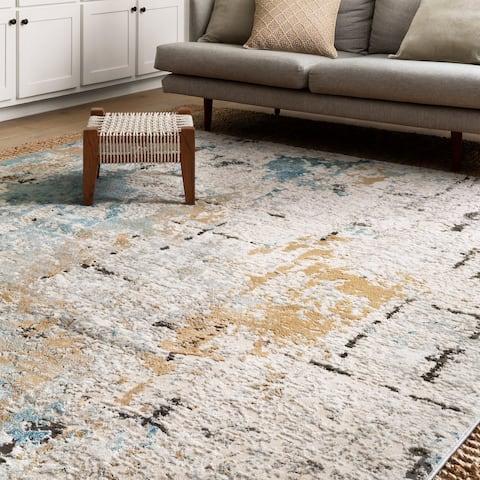 Alexander Home Keara Brushstroke Abstract Distressed Contemporary Rug