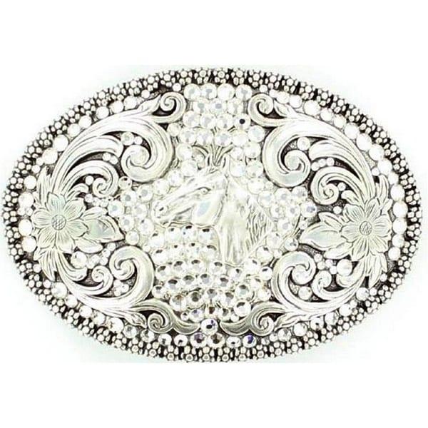 Nocona Western Belt Buckle Womens Horse Rhinestones Silver - 2 3/4 x 4