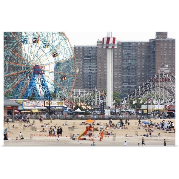 """Beachgoers at Coney Island"" Poster Print"