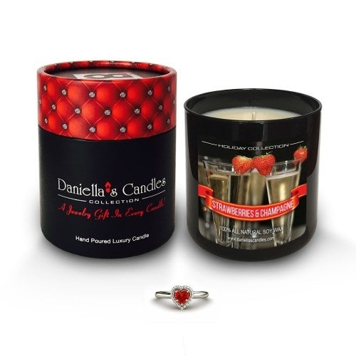 Strawberries and Champagne Jewelry Candle, Earrings