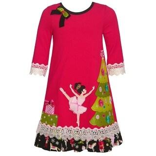 Bonnie Jean Little Girls Red Nutcracker A-Line Tea-Length Christmas Dress