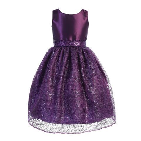 Blossom Little Girls Purple Sequin Taffeta Corded Netting Flower Girl Dress