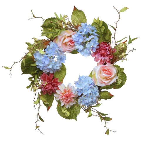 Hydrangea and Rose Artificial Floral Wreath, Blue 23-Inch