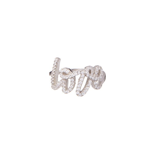 Cubic Zirconia & Sterling Silver 'Love' Script Ring