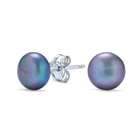 Pink Freshwater Cultured Pearl Stud Earrings 925 Sterling Silver 7MM